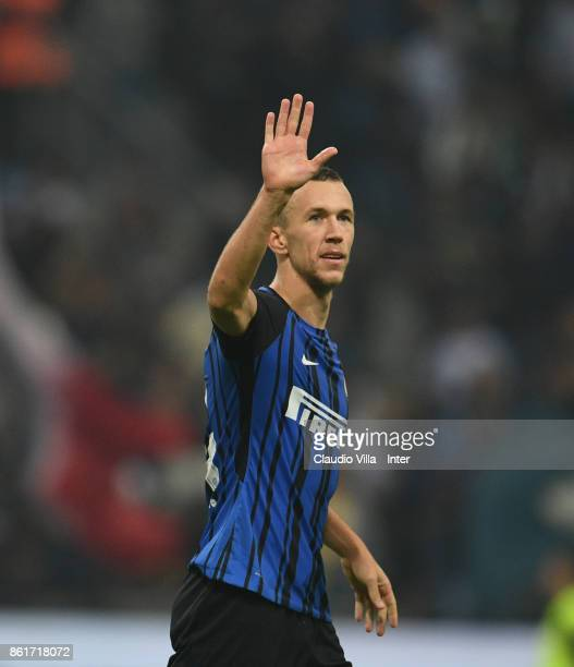Ivan Perisic of FC Internazionale celebrate the win at the end of the Serie A match between FC Internazionale and AC Milan at Stadio Giuseppe Meazza...