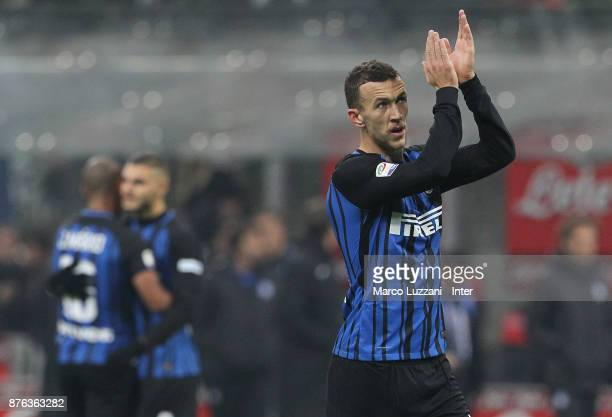 Ivan Perisic of FC Internazionale celebrate the win at the end of the Serie A match between FC Internazionale and Atalanta BC at Stadio Giuseppe...