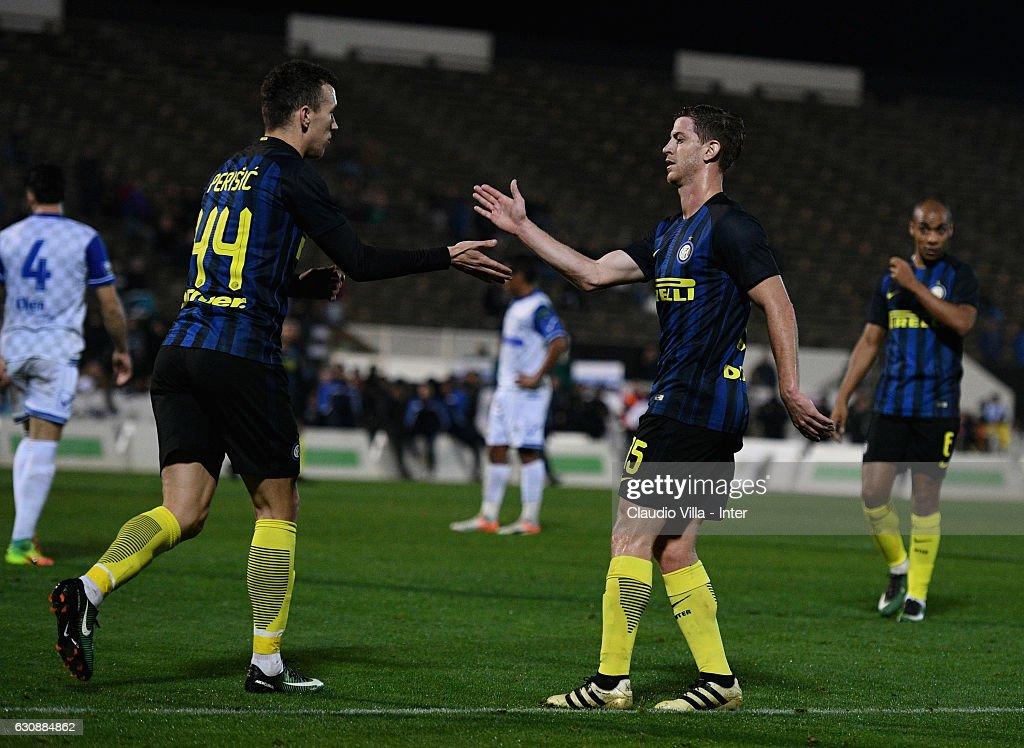 Ivan Perisic of FC Internazionale #44 celebrates after scoring the first goal during the friendly match at Estadio Municipal de La Linea de la Conception on January 3, 2017 in Cadiz, Spain.