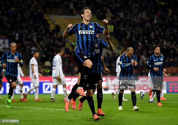 Ivan Perisic of FC Internazionale celebrates after scoring the opening goal during the Serie A match between FC Internazionale Milano and Bologna FC...