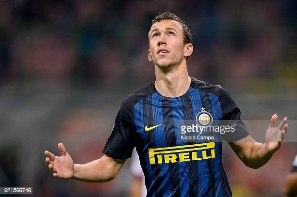 Ivan Perisic of FC Internazionale celebrates after scoring the opening goal during the Serie A football match between FC Internazionale and FC...