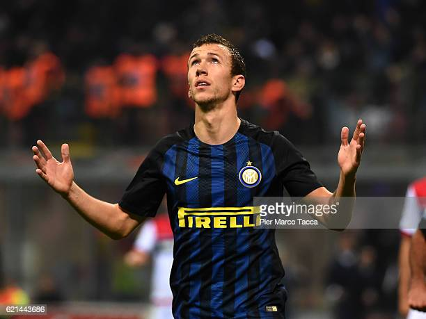 Ivan Perisic of FC Internazionale celebrates his first goal during the Serie A match between FC Internazionale and FC Crotone at Stadio Giuseppe...