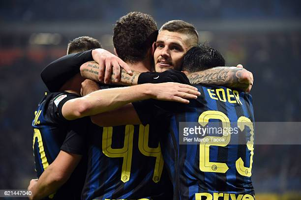 Ivan Perisic of FC Internazionale celebrates his first goal with Mauro Icardi and Citadin Eder during the Serie A match between FC Internazionale and...