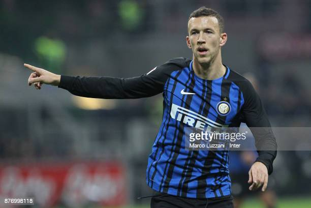 Ivan Perisic of FC Internazionale gestures during the Serie A match between FC Internazionale and Atalanta BC at Stadio Giuseppe Meazza on November...