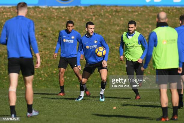 Ivan Perisic of FC Internazionale in action during the FC Internazionale training session at Suning Training Center at Appiano Gentile on November 17...