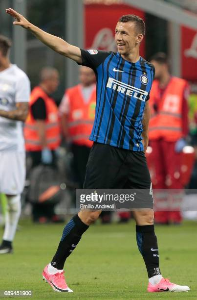 Ivan Perisic of FC Internazionale Milano celebrates his goal during the Serie A match between FC Internazionale and Udinese Calcio at Stadio Giuseppe...