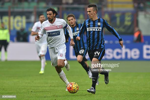 Ivan Perisic of FC Internazionale Milano runs of Cristian Zaccardo of Carpi FC during the Serie A match between FC Internazionale Milano and Carpi FC...