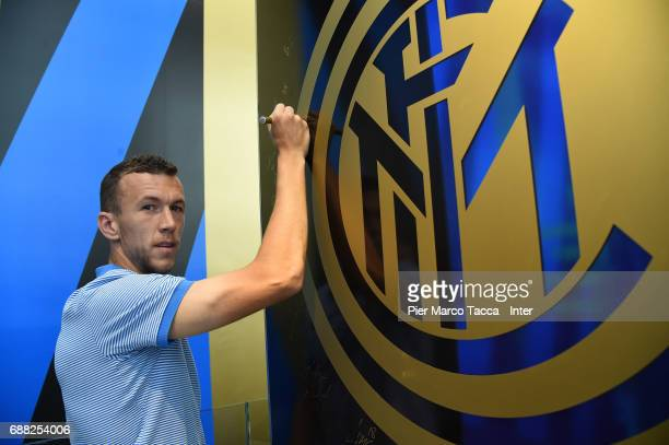 Ivan Perisic of FC Internazionale poses during FC Internazionale New 2017/18 kit is unveiled at Club Store on May 25 2017 in Milan Italy
