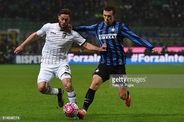 Ivan Perisic of Inter and Andrea Rispoli of Palermo compete for the ball during the Serie A match between FC Internazionale Milano and US Citta di...