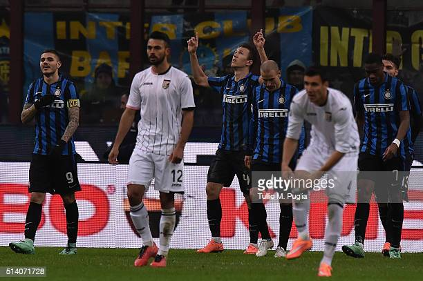 Ivan Perisic of Inter celebrates after scoring his team's third goal during the Serie A match between FC Internazionale Milano and US Citta di...
