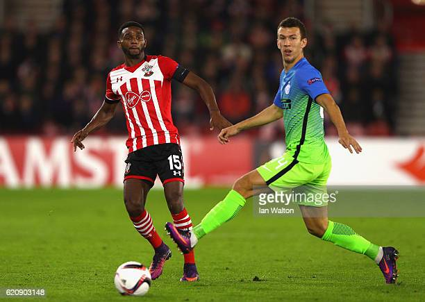 Ivan Perisic of Internazionale closes down Cuco Martina of Southampton during the UEFA Europa League Group K match between Southampton FC and FC...