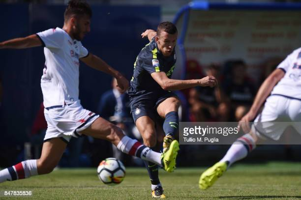 Ivan Perisic of Internazionale kicks the ball during the Serie A match between FC Crotone and FC Internazionale at Stadio Comunale Ezio Scida on...