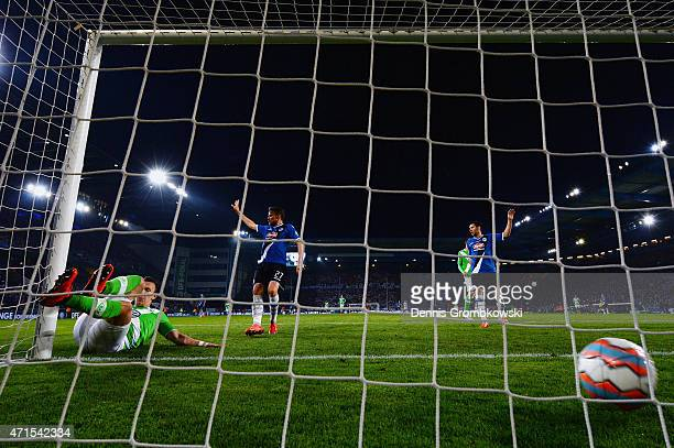 Ivan Perisic of VfL Wolfsburg scores the third goal during the DFB Cup Semi Final match betwen Arminia Bielefeld and VfL Wolfsburg at Schueco Arena...