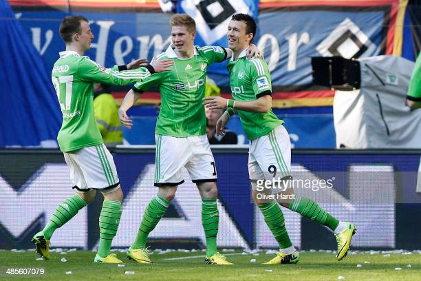 Ivan Perisic of Wolfsburg celebrates after scoring their first goal during the Bundesliga match between Hamburger SV and VfL Wolfsburg at Imtech...