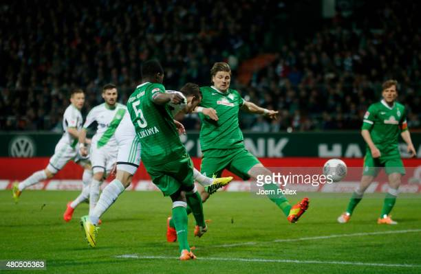 Ivan Perisic of Wolfsburg scores his team's second goal during the Bundesliga match between Werder Bremen and VfL Wolfsburg at Weserstadion on March...