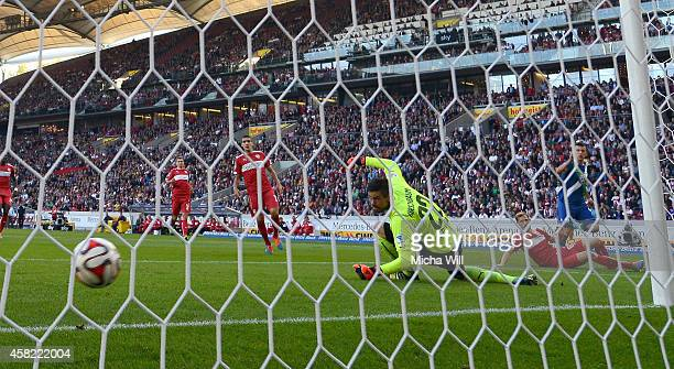 Ivan Perisic of Wolfsburg scores the opening/first goal during the Bundesliga match between VfB Stuttgart and VfL Wolfsburg at MercedesBenz Arena on...