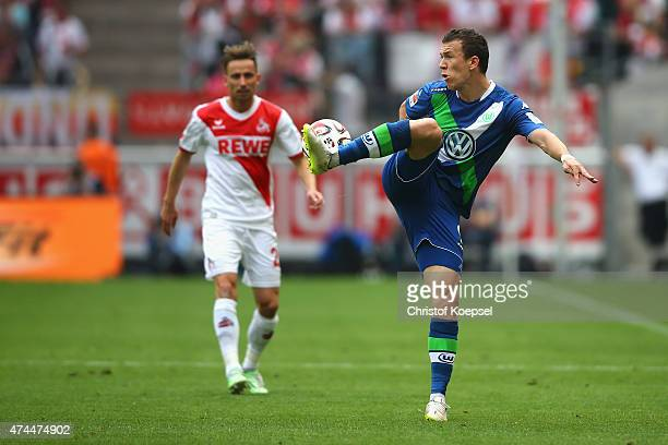 Ivan Perisic of Wolfsburg stops the ball during the Bundesliga match between 1 FC Koelan and VfL Wolfsburg at RheinEnergieStadion on May 23 2015 in...