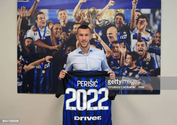 Ivan Perisic poses for a picture after he signed a contract extension with FC Internazionale on September 8 2017 in Milan Italy