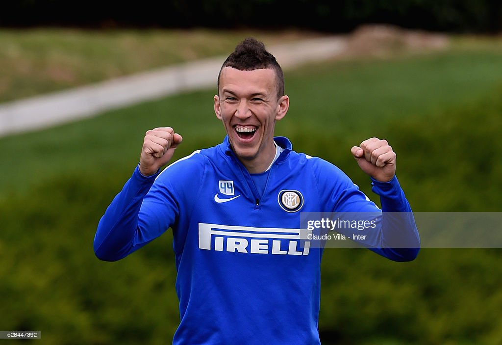 <a gi-track='captionPersonalityLinkClicked' href=/galleries/search?phrase=Ivan+Perisic&family=editorial&specificpeople=6344840 ng-click='$event.stopPropagation()'>Ivan Perisic</a> reacts during the FC Internazionale training session at the club's training ground at Appiano Gentile on May 5, 2016 in Como, Italy.