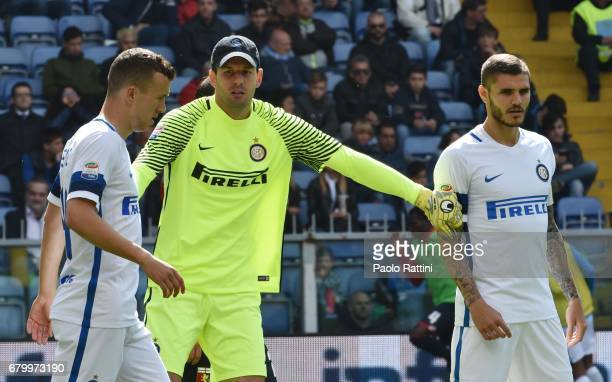 Ivan Perisic Samir Handanovic and Mauro Icardi during the Serie A match between Genoa CFC and FC Internazionale at Stadio Luigi Ferraris on May 7...
