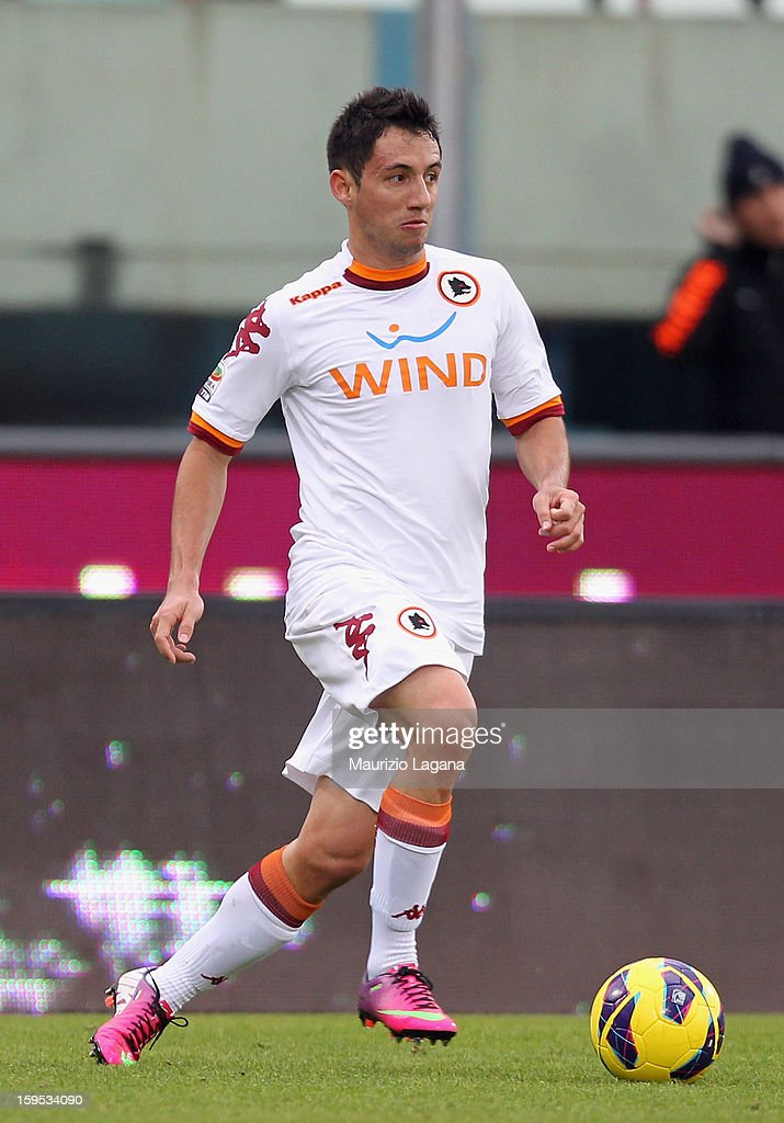 <a gi-track='captionPersonalityLinkClicked' href=/galleries/search?phrase=Ivan+Piris&family=editorial&specificpeople=5348316 ng-click='$event.stopPropagation()'>Ivan Piris</a> of Roma during the Serie A match between Calcio Catania and AS Roma at Stadio Angelo Massimino on January 13, 2013 in Catania, Italy.