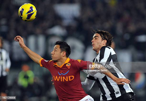 Ivan Piris of Roma shields the ball from Alessandro Matri of Juventus during the Serie A match between AS Roma and Juventus FC at Stadio Olimpico on...