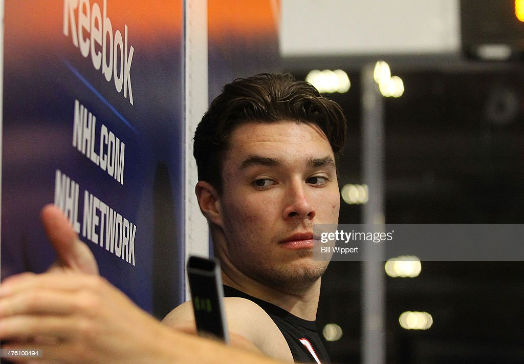 Ivan Provorov has his wingspan measured during the NHL Combine at HarborCenter on June 6, 2015 in Buffalo, New York.