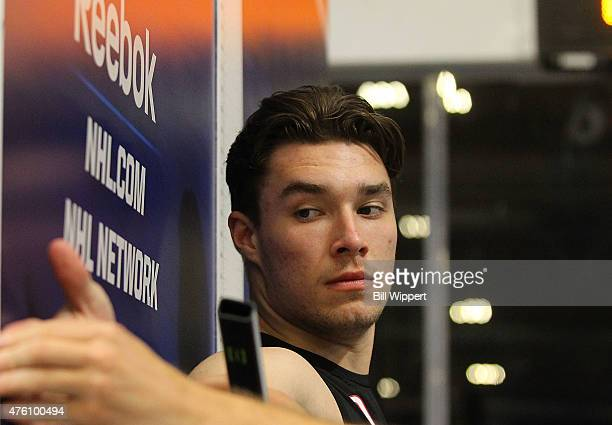 Ivan Provorov has his wingspan measured during the NHL Combine at HarborCenter on June 6 2015 in Buffalo New York
