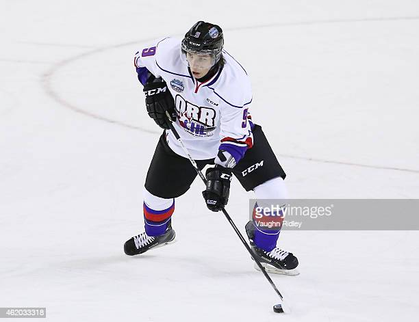 Ivan Provorov of Team Orr skates during the 2015 BMO CHL/NHL Top Prospects Game against Team Cherry at the Meridian Centre on January 22 2015 in St...