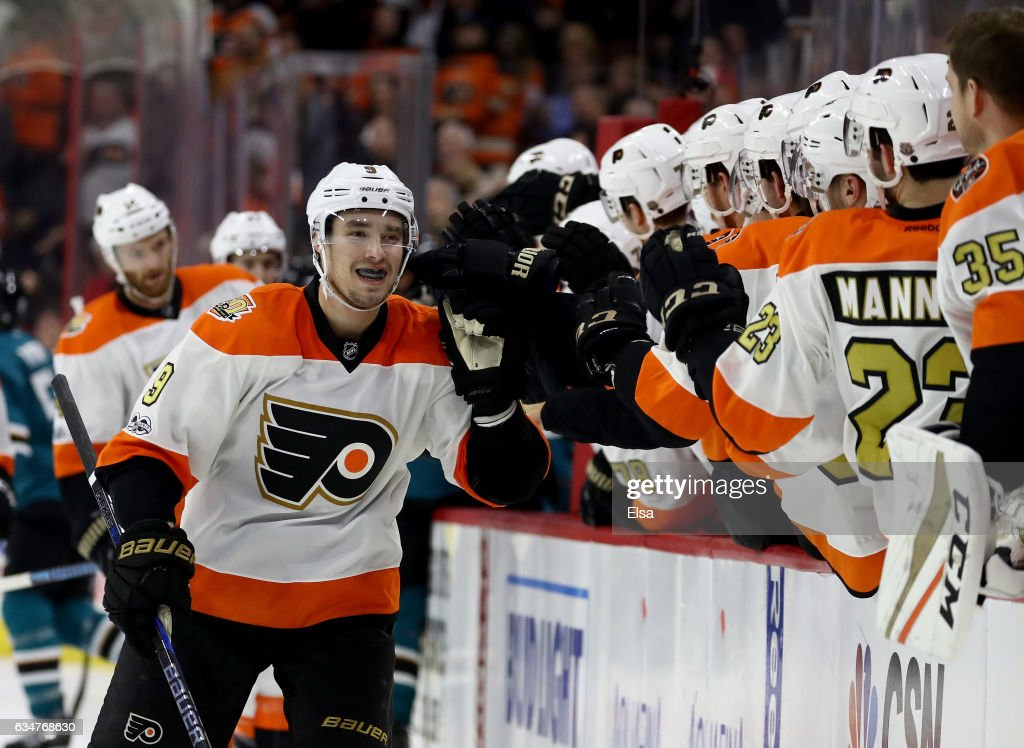 Ivan Provorov #9 of the Philadelphia Flyers is congratulated by teammates on the bench after he scored in the third period against the San Jose Sharks on February 11, 2017 at Wells Fargo Center in Philadelphia, Pennsylvania.The Philadelphia Flyers defeated the San Jose Sharks 2-1 in overtime.