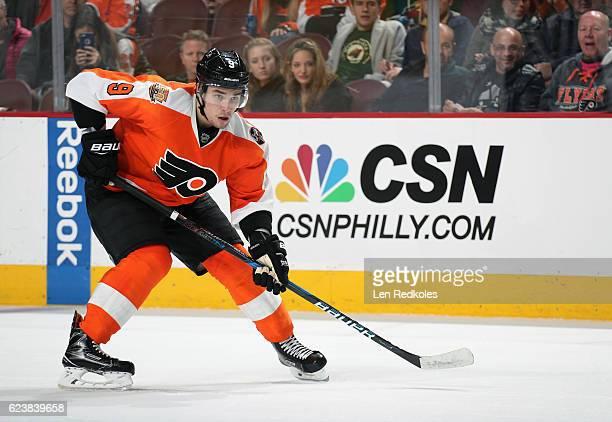 Ivan Provorov of the Philadelphia Flyers looks on against the Minnesota Wild on November 12 2016 at the Wells Fargo Center in Philadelphia...