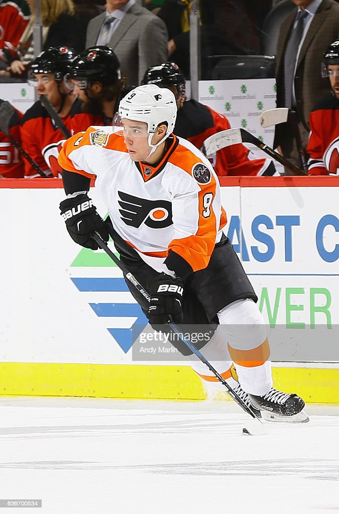 Ivan Provorov #9 of the Philadelphia Flyers plays the puck during the game against the New Jersey Devils at Prudential Center on December 22, 2016 in Newark, New Jersey.