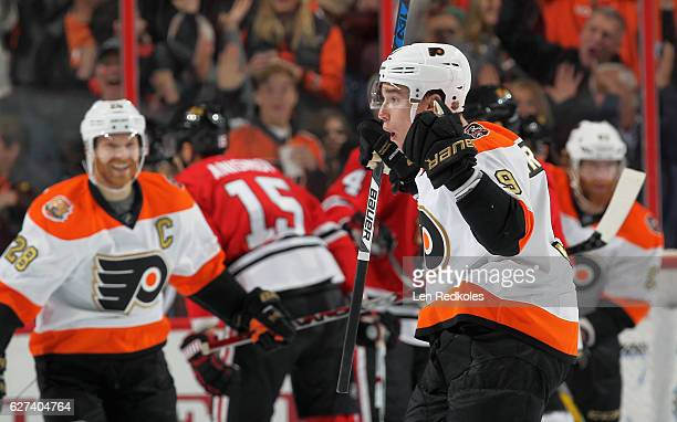 Ivan Provorov of the Philadelphia Flyers reacts after scoring his second of two goals within 31 seconds in the second period against the Chicago...