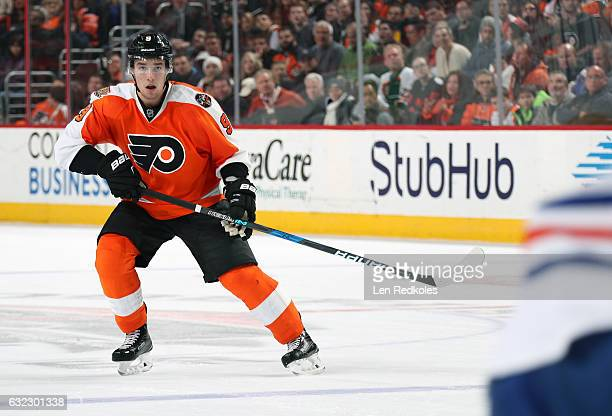 Ivan Provorov of the Philadelphia Flyers skates back on defense against the Edmonton Oilers on December 8 2016 at the Wells Fargo Center in...