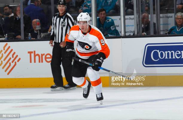 Ivan Provorov of the Philadelphia Flyers skates during a NHL game against the San Jose Sharks at SAP Center at San Jose on October 4 2017 in San Jose...
