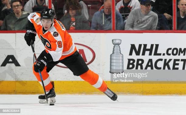 Ivan Provorov of the Philadelphia Flyers skates the puck against the Columbus Blue Jackets on April 8 2017 at the Wells Fargo Center in Philadelphia...