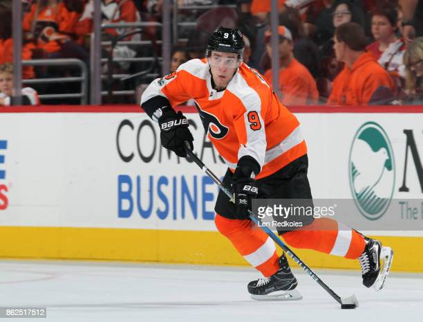 Ivan Provorov of the Philadelphia Flyers skates the puck against the Washington Capitals on October 14 2017 at the Wells Fargo Center in Philadelphia...