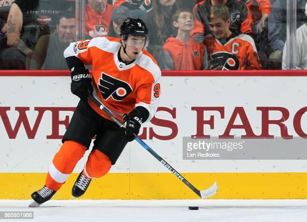 Ivan Provorov of the Philadelphia Flyers skates the puck against the Nashville Predators on October 19 2017 at the Wells Fargo Center in Philadelphia...