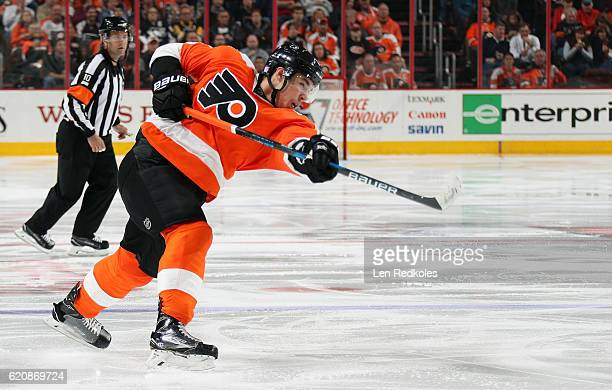 Ivan Provorov of the Philadelphia Flyers takes a slapshot against the Pittsburgh Penguins on October 29 2016 at the Wells Fargo Center in...