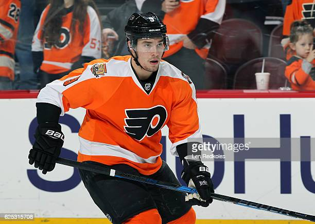 Ivan Provorov of the Philadelphia Flyers warms up prior to his game against the Winnipeg Jets on November 17 2016 at the Wells Fargo Center in...