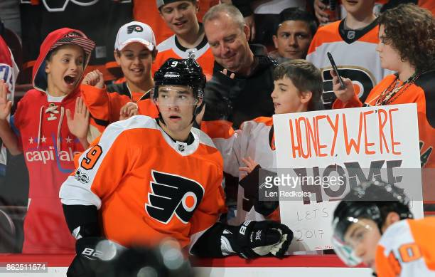 Ivan Provorov of the Philadelphia Flyers warms up prior to his game against the Washington Capitals on October 14 2017 at the Wells Fargo Center in...