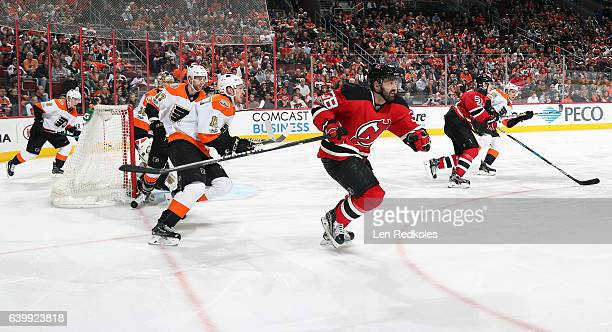 Ivan Provorov Steve Mason Andrew MacDonald Roman Lyubimov and Chris VandeVelde of the Philadelphia Flyers in action against Veron Fiddler and Serey...