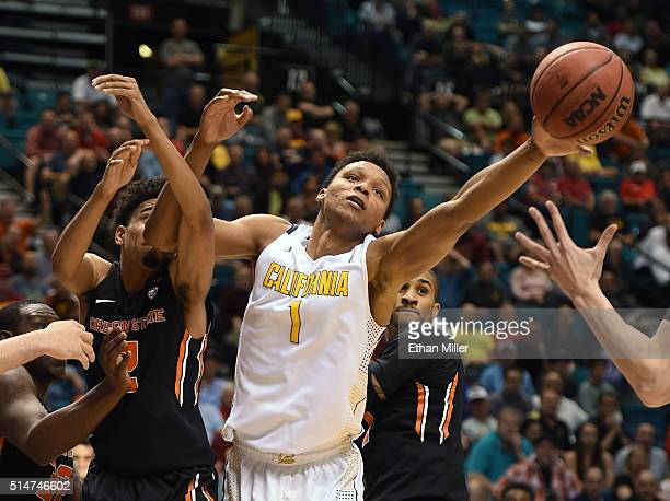 Ivan Rabb of the California Golden Bears and Stephen Thompson Jr #2 of the Oregon State Beavers go after a rebound during a quarterfinal game of the...
