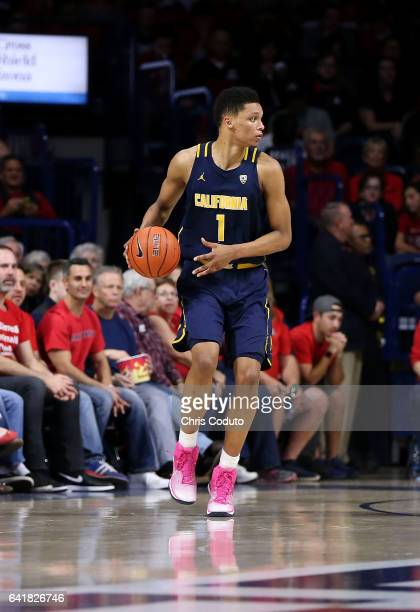 Ivan Rabb of the California Golden Bears dribbles the ball during the seconmd half of the college basketball game against the Arizona Wildcats at...