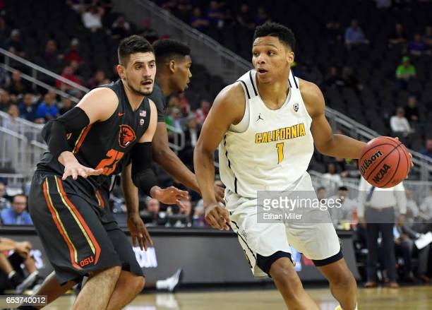 Ivan Rabb of the California Golden Bears drives against Gligorije Rakocevic of the Oregon State Beavers during a firstround game of the Pac12...