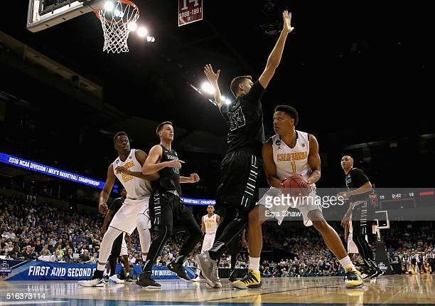 Ivan Rabb of the California Golden Bears drives against Stefan Jankovic of the Hawaii Warriors during the first round of the 2016 NCAA Men's...