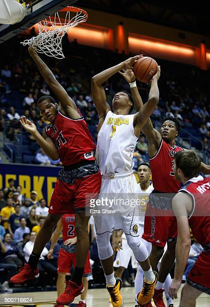 Ivan Rabb of the California Golden Bears goes up for a shot against Shawn Johnson and Simi Socks of the Incarnate Word Cardinals at Haas Pavilion on...