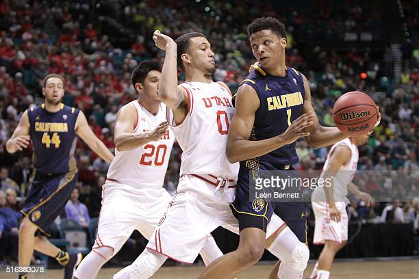 Ivan Rabb of the California Golden Bears handles the ball against Brekkott Chapman the Utah Utes during a semifinal game of the NCAA Pac12 Basketball...