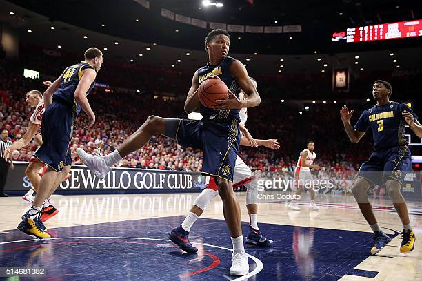 Ivan Rabb of the California Golden Bears pulls down a rebound during the first half of the college basketball game against the Arizona Wildcats at...