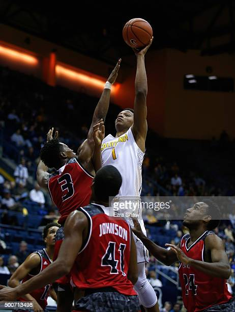 Ivan Rabb of the California Golden Bears shoots over Simi Socks of the Incarnate Word Cardinals at Haas Pavilion on December 9 2015 in Berkeley...